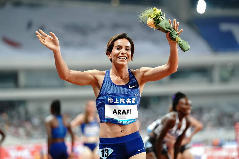 SHANGHAI, CHINA - MAY 18:  Rababe Arafi of Morocco celebrates after winning the Women 1500m Final of the 2019 IAAF Diamond League at Shanghai Stadium on May 18, 2019 in Shanghai, China.  (Photo by Lintao Zhang/Getty Images)