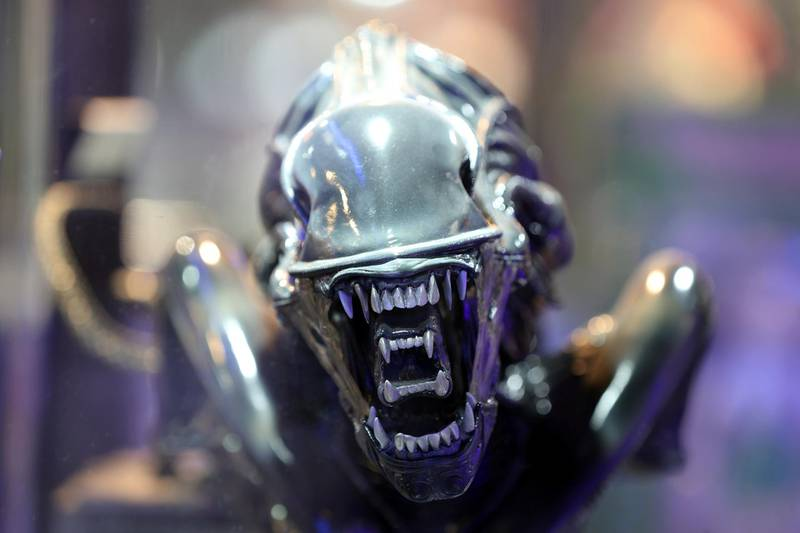 Dubai, United Arab Emirates - May 26, 2019: Photo Project. Alien warrior from the Alien series of films. Comicave is the WorldÕs largest pop culture superstore involved in the retail and distribution of high-end collectibles, pop-culture merchandise, apparels, novelty items, and likes. Thursday the 30th of May 2019. Dubai Outlet Mall, Dubai. Chris Whiteoak / The National