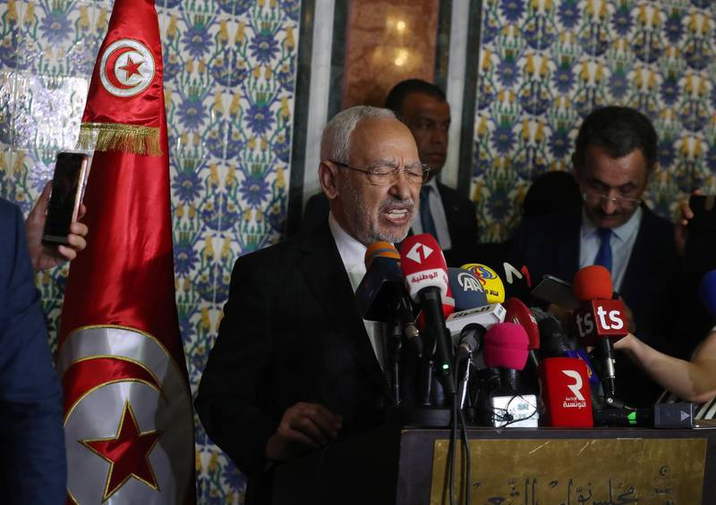 epa08574732 Tunisian Parliament Speaker Rached Ghannouchi (L) speaks at a press conference following a plenary session at the Assembly of the People's Representatives (ARP) in Tunis, Tunisia, 31 July 2020. Rached Ghannouchi, leader of the Ennahdha party, retained his seat as Speaker of Parliament, after the vote to withdraw confidence following the motion filed against him by four parliamentary blocs.  EPA/MOHAMED MESSARA