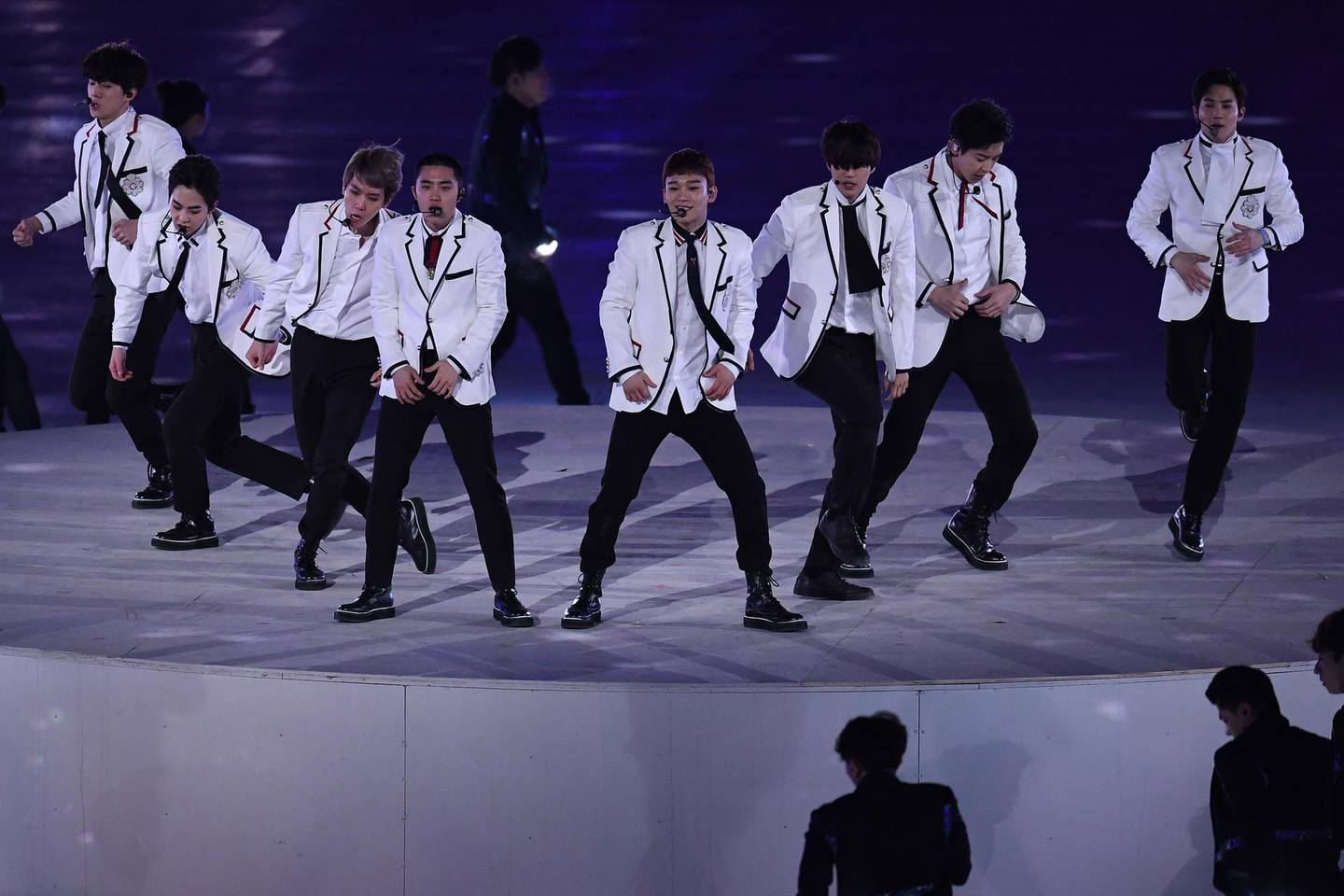 PYEONGCHANG-GUN, SOUTH KOREA - FEBRUARY 25:  Band EXO perform during the Closing Ceremony of the PyeongChang 2018 Winter Olympic Games at PyeongChang Olympic Stadium on February 25, 2018 in Pyeongchang-gun, South Korea.  (Photo by David Ramos/Getty Images)