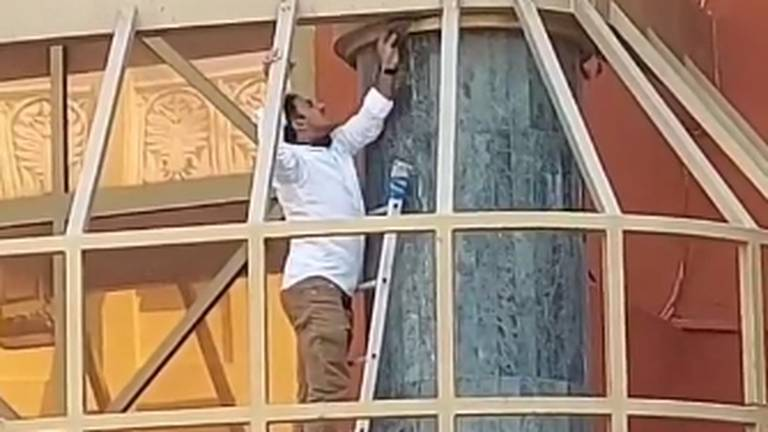 An image that illustrates this article Hero rescues bird trapped in Dubai shopping centre roof
