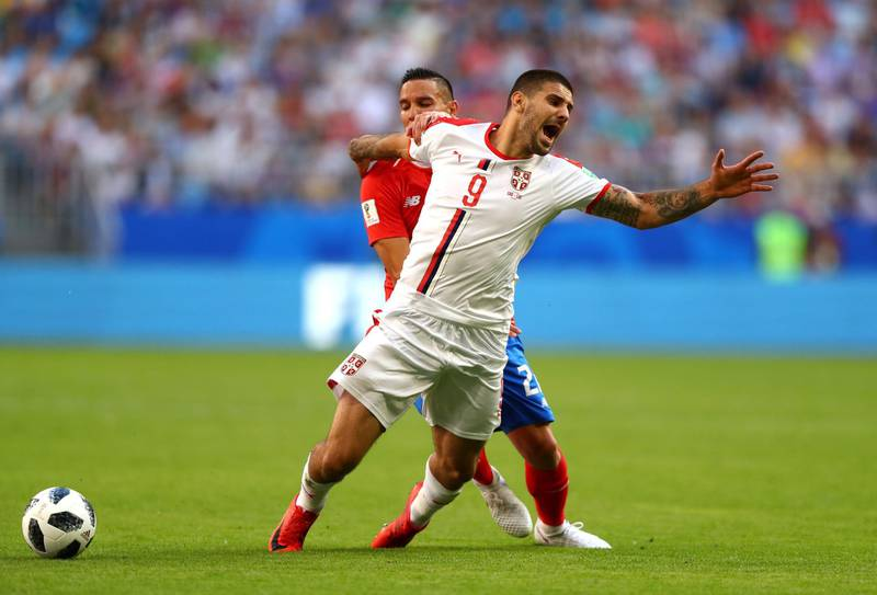 SAMARA, RUSSIA - JUNE 17:  Aleksandar Mitrovic of Serbia is tackled by Marcos Urena of Costa Rica during the 2018 FIFA World Cup Russia group E match between Costa Rica and Serbia at Samara Arena on June 17, 2018 in Samara, Russia.  (Photo by Dean Mouhtaropoulos/Getty Images)
