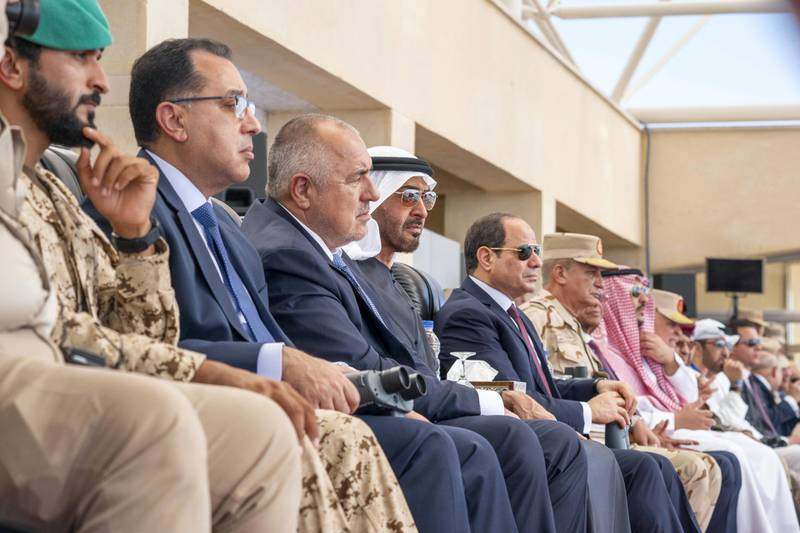 Berenice, Egypt - January 15, 2020: HH Sheikh Mohamed bin Zayed Al Nahyan, Crown Prince of Abu Dhabi and Deputy Supreme Commander of the UAE Armed Forces (4th L) and HE Abdel Fattah El Sisi, President of Egypt (5th L), attend the opening ceremony of BereniceMilitary Base. Seen with HH Sheikh Nasser bin Hamad bin Isa Al Khalifa (L) and HE Boyko Borissov, Prime Minister of Bulgaria (3rd L).   ( Hamad Al Kaabi /  Ministry of Presidential Affairs ) —