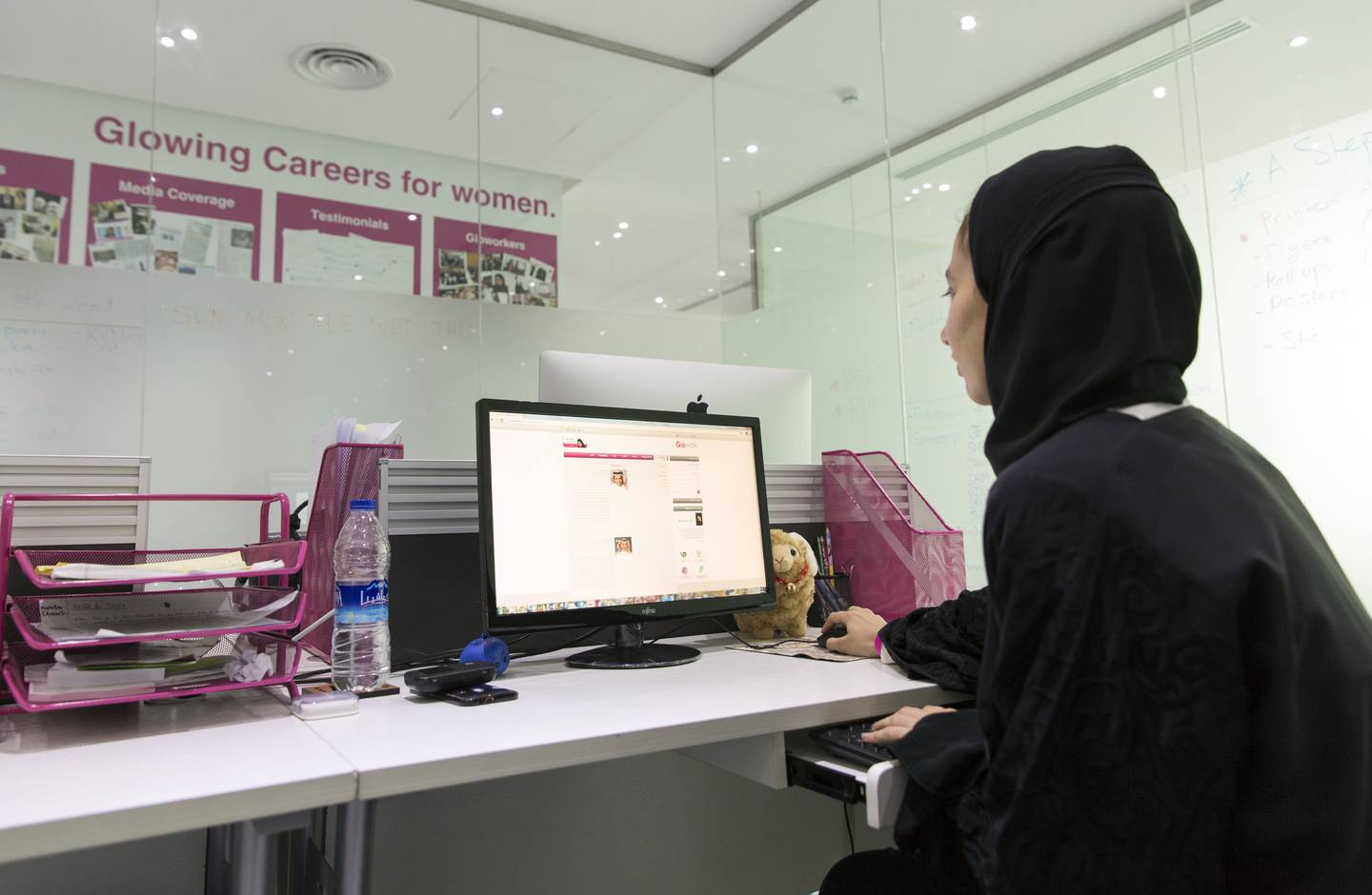 Riad, Saudi Arabia - October 19: A young Arab woman sitting in front of a computer in the employment agency for women 'Glowork' on October 19, 2015 in Riad, Saudi Arabia. (Photo by Thomas Koehler/Photothek via Getty Images)