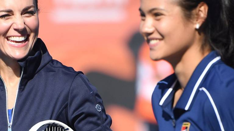 An image that illustrates this article The Duchess of Cambridge meets Britain's US Open tennis champion Emma Raducanu