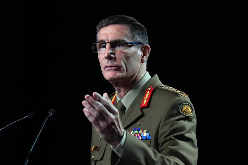 CANBERRA, AUSTRALIA - NOVEMBER 19: Chief of the Australian Defence Force (ADF) General Angus Campbell delivers the findings from the Inspector-General of the Australian Defence Force Afghanistan Inquiry on November 19, 2020 in Canberra, Australia. A landmark report has shed light on alleged war crimes by Australian troops serving in Afghanistan. (Photo by Mick Tsikas - Pool/Getty Images)