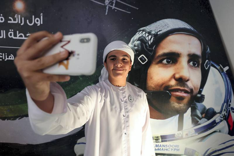 Dubai, United Arab Emirates - September 25, 2019: Abdulla Al Shamsi 13. People attend a live screening of launch of first UAE astronaut into space. Wednesday the 25th of September 2019. Mohammed Bin Rashid Space Centre, Dubai. Chris Whiteoak / The National