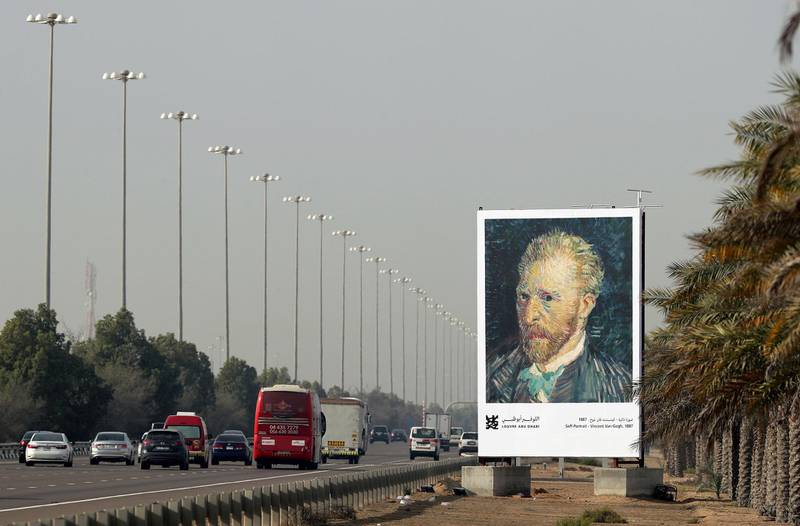 Between Dubai and Abu Dhabi, United Arab Emirates - February 13th, 2018: Vincent van Gogh billboard on the E11 advertising the Louvre. Tuesday, February 13th, 2018. Between Dubai and Abu Dhabi. Chris Whiteoak / The National