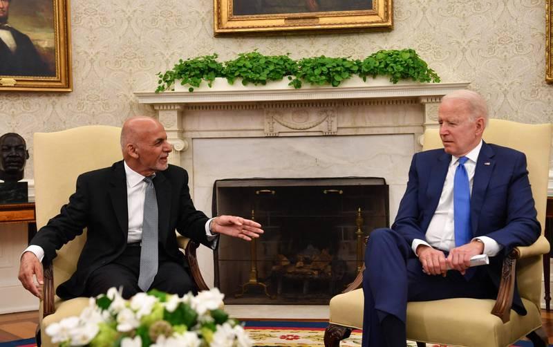President of Afghanistan Ashraf Ghani meets with US President Joe Biden in Washington, DC, on June 25, 2021. / AFP / Nicholas Kamm