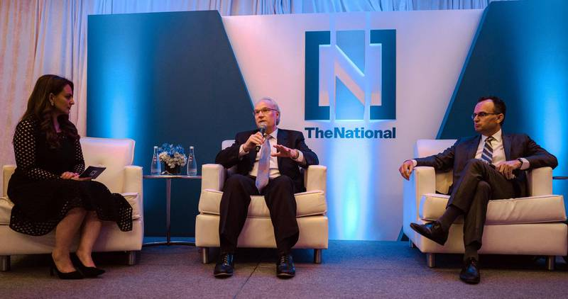 """The National hosted a high level panel discussion event in New York on Monday focused on developments in the region.""""The idea is to have a group of people who care about the Middle East gather on the eve of the United Nations General Assembly,"""" said Mina Al Oraibi, editor-in-chief of The National.Leading policy makers and opinion formers swapped views on the escalation in tensions in recent months as well as the prospect of descalation and bolstering the area's security. The UNGA general debate opens on Tuesday. Ryan Christopher Jones for The National"""