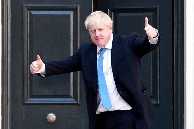 LONDON, ENGLAND - JULY 23: Newly elected Conservative party leader Boris Johnson poses outside the Conservative Leadership Headquarters on July 23, 2019 in London, England. After a month of hustings, campaigning and televised debates the members of the UK's Conservative and Unionist Party have voted for Boris Johnson to be their new leader and the country's next Prime Minister, replacing Theresa May. (Photo by Dan Kitwood/Getty Images)