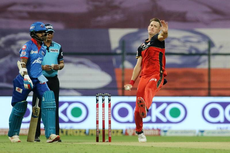 Chris Morris of Royal Challengers Bangalore bowls during match 55 of season 13 of the Dream 11 Indian Premier League (IPL) between the Delhi Capitals and the Royal Challengers Bangalore at the Sheikh Zayed Stadium, Abu Dhabi in the United Arab Emirates on the 2nd November 2020.  Photo by: Vipin Pawar  / Sportzpics for BCCI