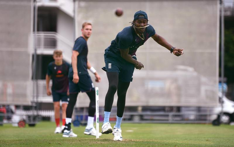 LONDON, ENGLAND - AUGUST 12: Jofra Archer of England bowls during a nets session at Lord's Cricket Ground on August 12, 2019 in London, England. (Photo by Gareth Copley/Getty Images)