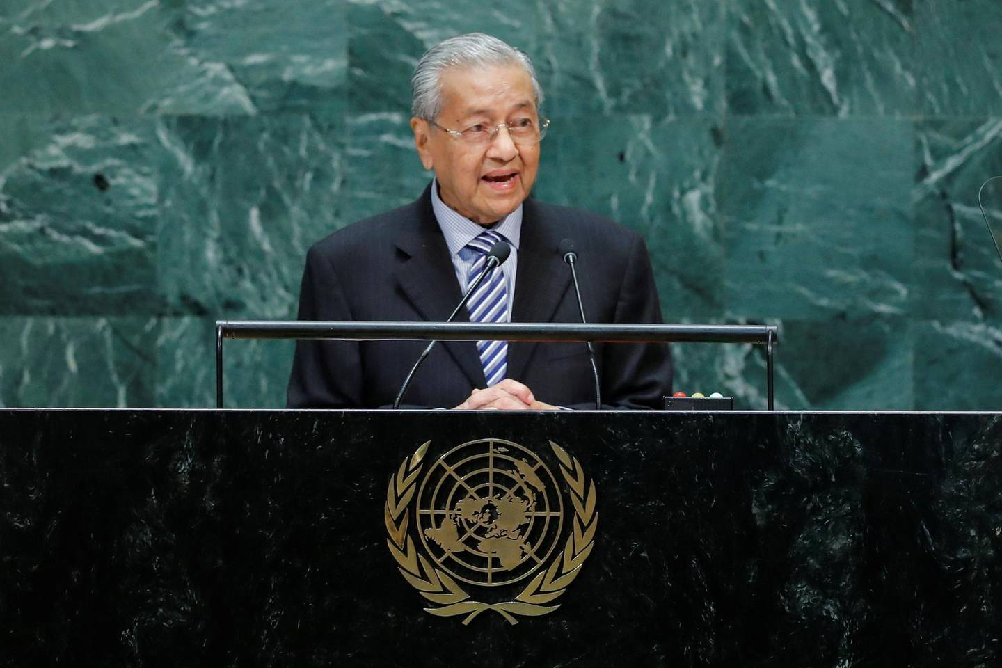 Malaysian Prime Minister Mahathir Mohamad addresses the 74th session of the United Nations General Assembly at U.N. headquarters in New York City, New York, U.S., September 27, 2019. REUTERS/Eduardo Munoz