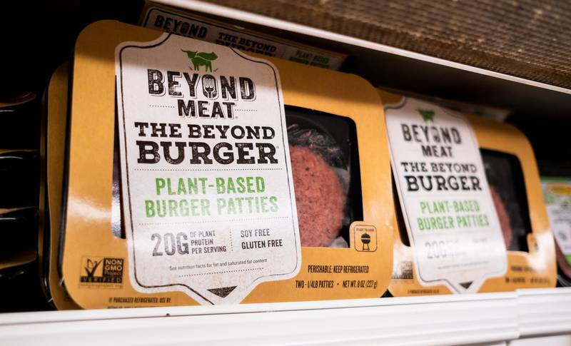 epa07545424 A Beyond Meat product on a store shelf in New York, New York, USA, 03 May 2019. The company, which sells plant-based meat substitutes, had their IPO this week and shares quickly rose 163 percent.  EPA/JUSTIN LANE