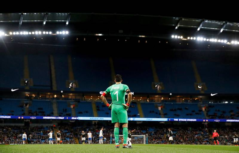 A general view of the match during the international friendly soccer match between Argentina and Italy at the Etihad Stadium in Manchester, England, Friday, March 23, 2018.   (Martin Rickett, PA via AP)