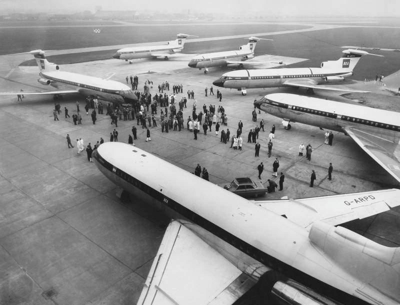 Hawker Siddeley HS 121 Trident 1C medium-range commercial  jet airliners for British European Airways (BEA) lined up at de Havillands Hatfield Aerodrome following a Far East sales drive on 29 October 1963 in London, United Kingdom.  (Photo by Ted West/Central Press/Hulton Archive/Getty Images).
