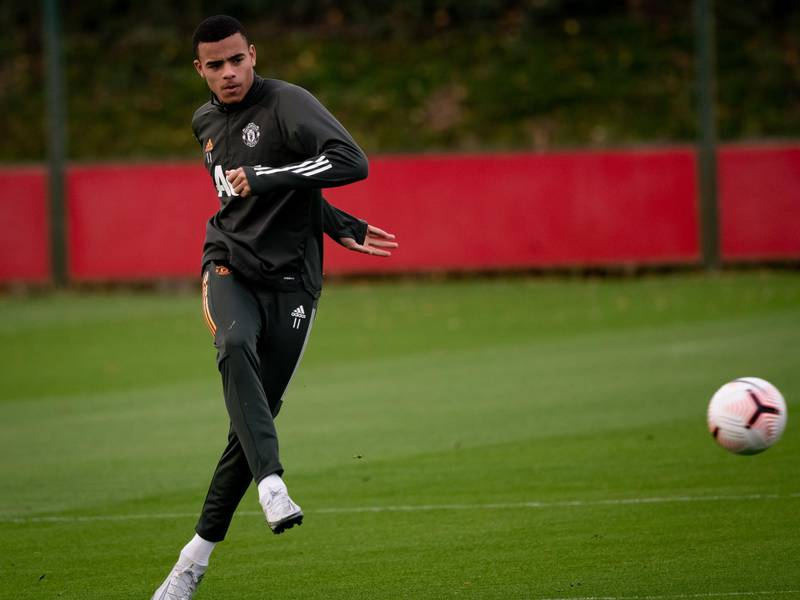 MANCHESTER, ENGLAND - NOVEMBER 16: (EXCLUSIVE COVERAGE)  Mason Greenwood of Manchester United in action during a first team training session at Aon Training Complex on November 16, 2020 in Manchester, England. (Photo by Ash Donelon/Manchester United via Getty Images)