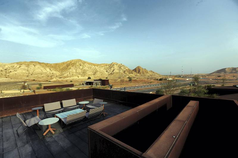 Sharjah, August, 18, 2019: Terrace Sitting area at the Al Faya Lodge in Sharjah. Satish Kumar/ For the National / Story by Rupert Hawksley