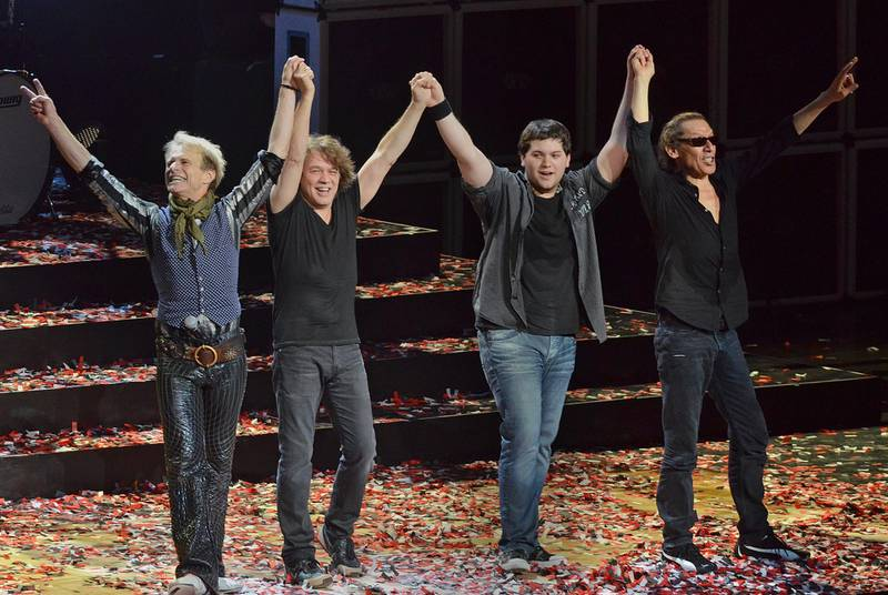 06 October 2020 - Eddie Van Halen, legendary Hall of Fame Guitarist and co-founder of Van Halen -- has died after a long battle with throat cancer at the age of 65. File Photo: 30 March 2012 - Pittsburgh, PA - Singer DAVID LEE ROTH, guitarist EDDIE VAN HALEN, bassist WOLFGANG VAN HALEN and drummer ALEX VAN HALEN of the legendary rock group VAN HALEN perform on a stop of their US Tour held at the CONSOL Energy Center.  Photo Credit: Devin Simmons/AdMedia/Sipa USANo Use UK. No Use Germany.