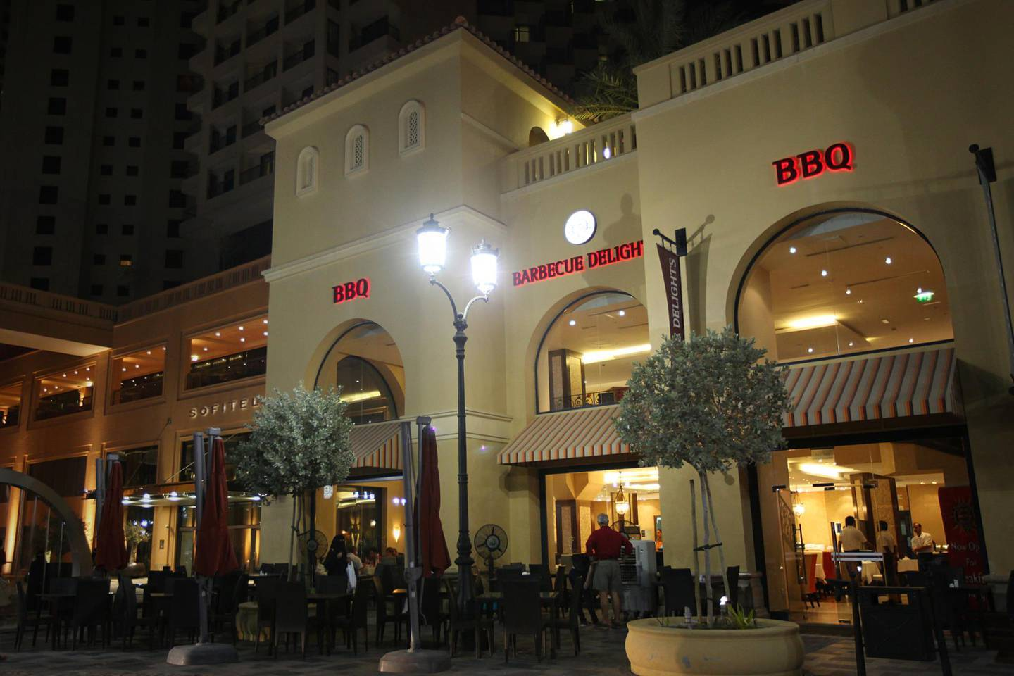 """United Arab Emirates - Dubai - July 16, 2010.  ARTS & LIFE: Barbecue Delights restaurant is located on """"The Walk"""" of Jumeirah Beach Residences in Dubai on Friday night, July 16, 2010. The popular Pakistani chain has been in this location for one and a half years. Amy Leang/The National"""