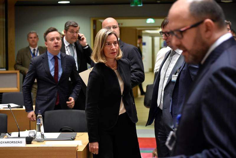 High Representative of the Union for Foreign Affairs and Security Policy Frederica Mogherini arrives to take part in  a Foreign Affairs minister meeting at the EU headquarters in Brussels on May 28, 2018.  / AFP / JOHN THYS
