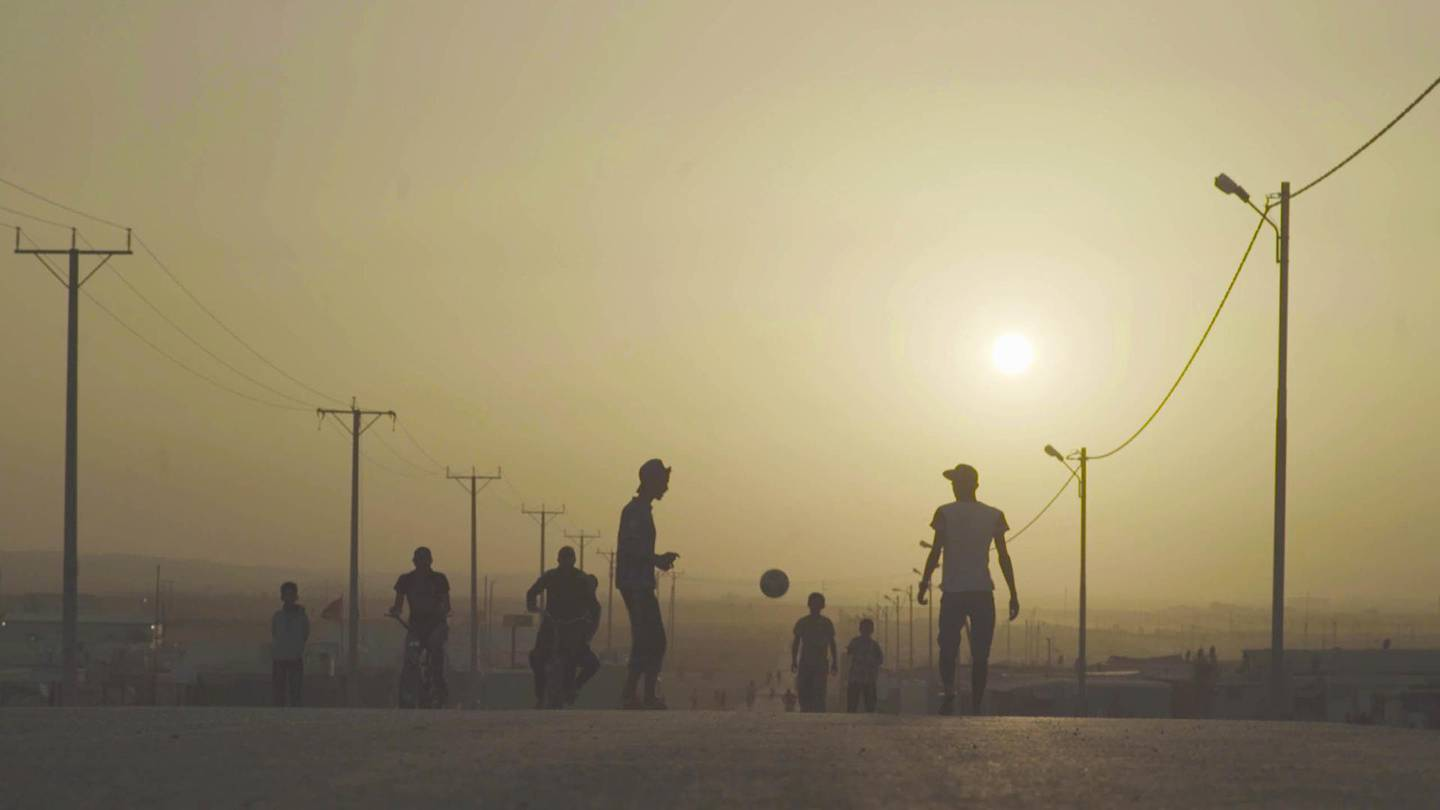 """A still from """"Captains of Zaatari"""" by Ali El Arabi, an official selection of the World Cinema Documentary Competition at the 2021 Sundance Film Festival. Courtesy of Sundance Institute.All photos are copyrighted and may be used by press only for the purpose of news or editorial coverage of Sundance Institute programs. Photos must be accompanied by a credit to the photographer and/or 'Courtesy of Sundance Institute.' Unauthorized use, alteration, reproduction or sale of logos and/or photos is strictly prohibited."""