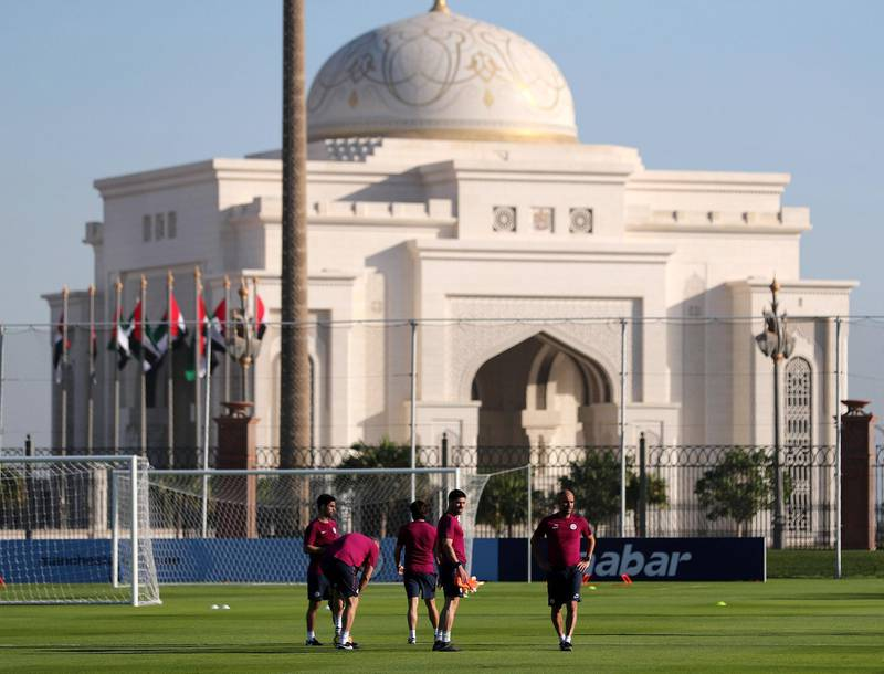 Abu Dhabi, United Arab Emirates - March 15th, 2018: Manager of Manchester City Pep Guardiola during a training session in Abu Dhabi. Thursday, March 15th, 2018. Emirates Palace, Abu Dhabi. Chris Whiteoak / The National