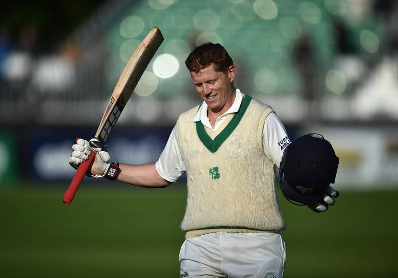 MALAHIDE, IRELAND - MAY 14: Kevin O'Brien of Ireland celebrates scoring a test century during the fourth day of the international test cricket match between Ireland and Pakistan on May 14, 2018 in Malahide, Ireland. (Photo by Charles McQuillan/Getty Images)
