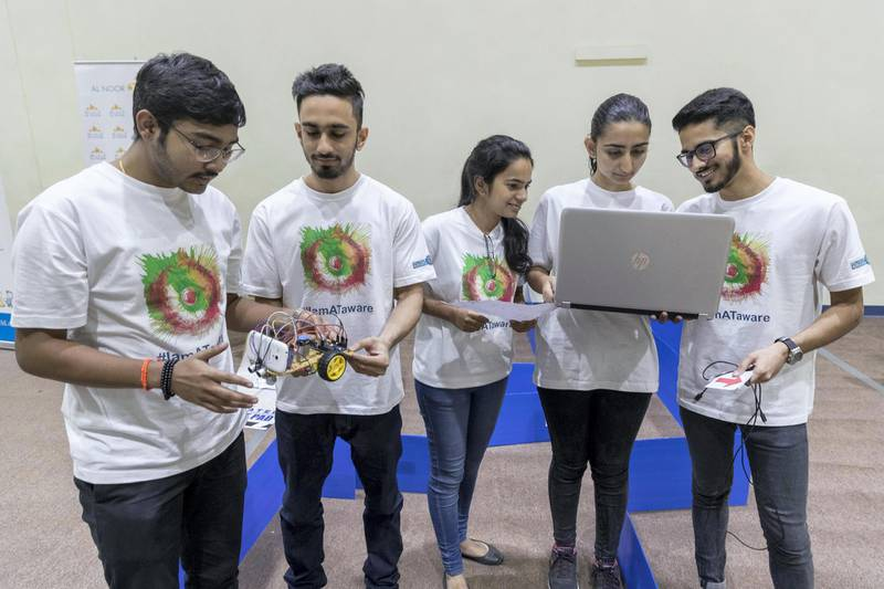 DUBAI, UNITED ARAB EMIRATES. 30 October 2017. Tech students come together to try and find solutions to help people with special needs move and communicate in the first assistive technology Hackathon organised by the Al Noor Special Needs Centre. LtoR: Team The Mediators, Rohit Vasu, Shaurya Sood, Arsheen Mir, Alina Zaidi and Rewant Verma from Bits Pilani Dubai Campus. (Photo: Antonie Robertson/The National) Journalist: Hala Khalaf. Section: Arts & Culture.