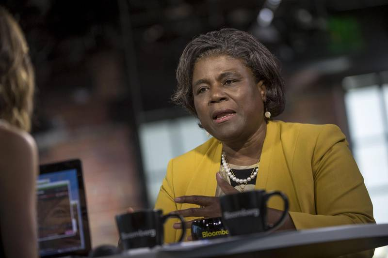 Linda Thomas-Greenfield, assistant secretary of state for African Affairs, speaks during a Bloomberg West Television interview in San Francisco, California, U.S., on Tuesday, May 31, 2016. Thomas-Greenfield discussed what makes Africa's emerging tech scene attractive to venture capital. Photographer: David Paul Morris/Bloomberg