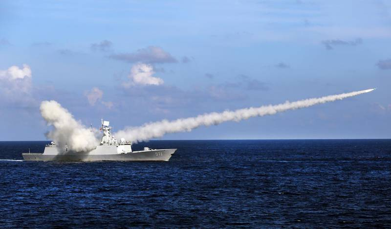 In this Friday, July 8, 2016, file photo released by Xinhua News Agency, Chinese missile frigate Yuncheng launches an anti-ship missile during a military exercise in the waters near south China's Hainan Island and Paracel Islands. China is holding another round of military drills in the South China Sea amid an uptick in such activity in the area highlighting growing tensions. (Zha Chunming/Xinhua via AP, File)