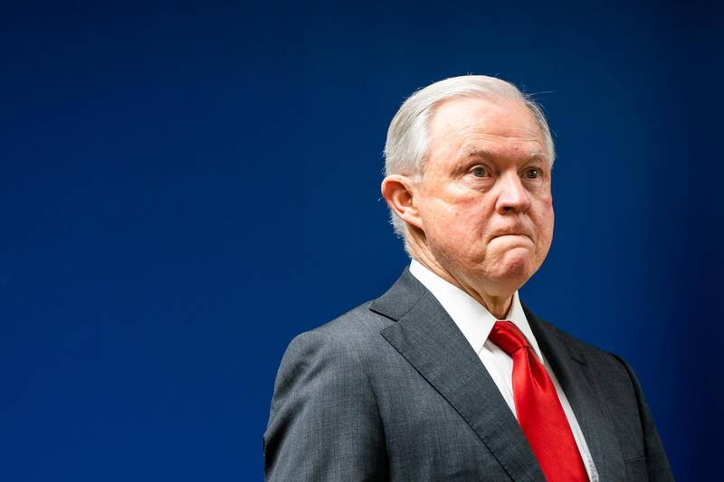 epa07095250 US Attorney General Jeff Sessions prepares to speak about reducing transnational crime, at the US Attorney's Office for the District of Columbia in Washington, DC, USA, 15 October 2018. Sessions said they would be focusing on combating five criminal organizations, including MS-13, the Sinaloa Cartel and Hezbollah.  EPA/JIM LO SCALZO