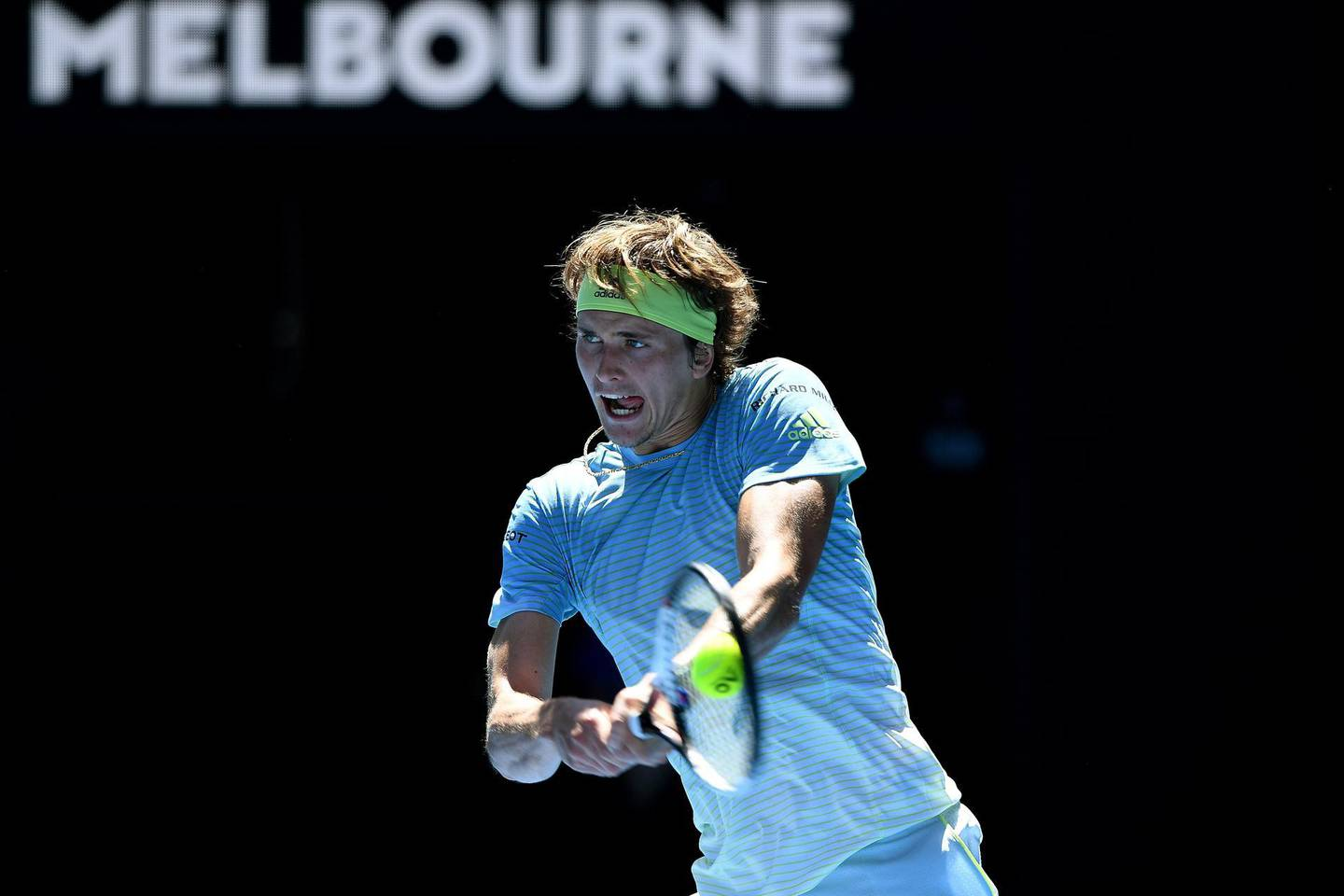 epa06442182 Alexander Zverev of Germany in action against Thomas Fabbiano of Italy during round one of the Australian Open tennis tournament in Melbourne, Victoria, Australia, 16 January 2018.  EPA/JOE CASTRO  AUSTRALIA AND NEW ZEALAND OUT
