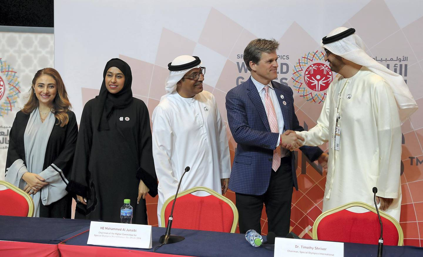 ABU DHABI , UNITED ARAB EMIRATES , March 21 – 2019 :- Left to Right – Tala Al Ramahi , Chief Strategy Officer, Special Olympics World Games Abu Dhabi 2019, Hessa Bint Essa Buhumaid, UAE Minister of Community Development, Mohammed Al Junaibi , Chairman of the Higher Committee for Special Olympics World Games Abu Dhabi 2019, Dr. Timothy Shriver, Chairman, Special Olympics International and Dr. Sultan Al Jaber, UAE Minister of State and CEO, ADNOC Group during the closing press conference of the Special Olympics World Games Abu Dhabi 2019 held at ADNEC in Abu Dhabi. ( Pawan Singh / The National ) For News. Story by Haneen