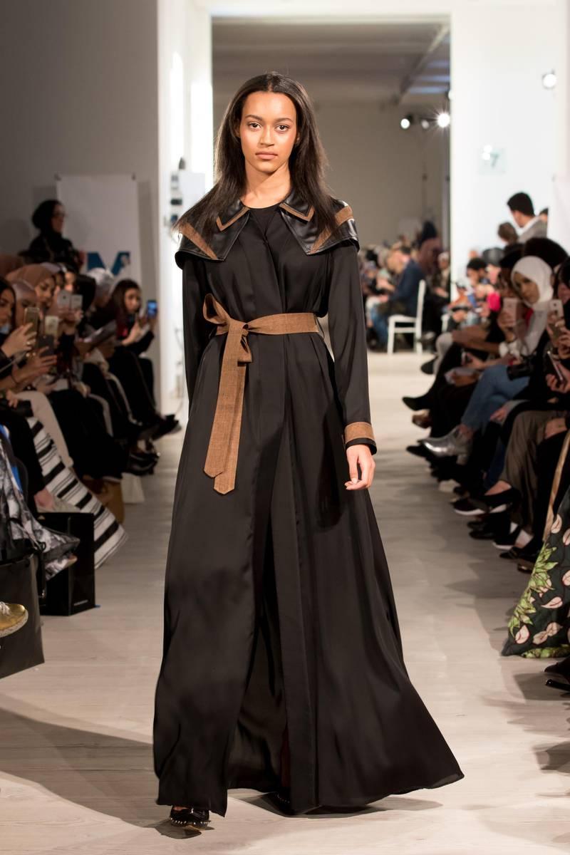 Sara Al Madani at London Modest fashion Week. Courtesy LMFW *** Local Caption ***  AL01 ADU gallery Sara Al Madani Fashion Design - Soldier Girl Collection - 1Sara Al Madani Fashion Design - Soldier Girl Collection - 6.JPG