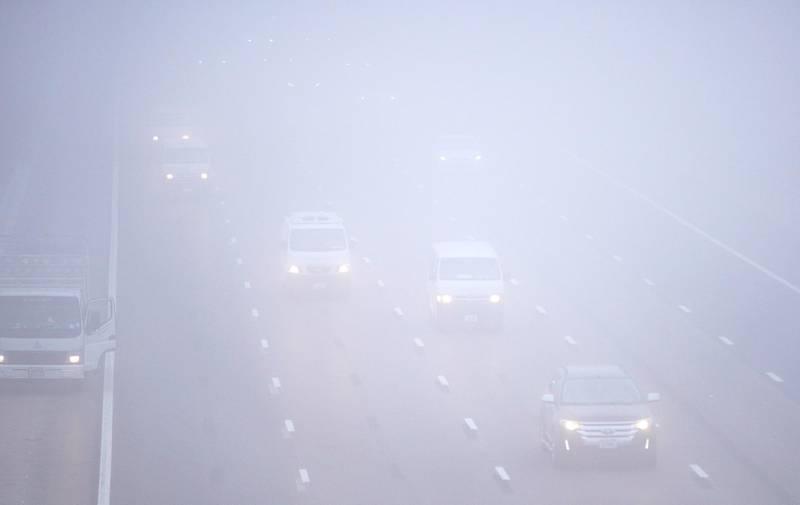 Abu Dhabi, United Arab Emirates, December 6, 2020.   Foggy morning at Khalifa City.Victor Besa/The NationalSection:  NAFor:  Standalone/Stock Images
