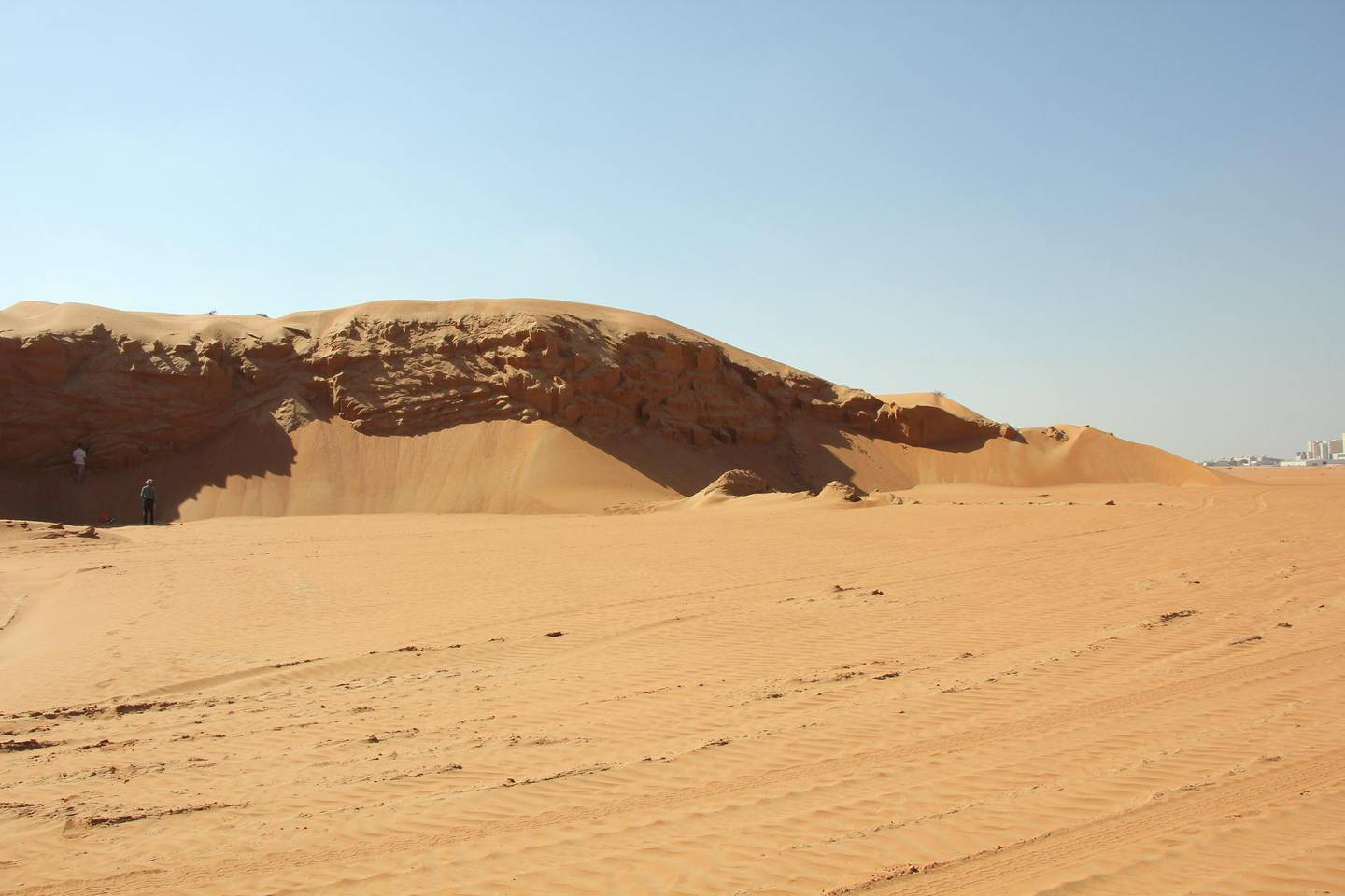Sand dunes on the RAK/Umm Al Quwain border. Samples of sand are taken at various depths and, from this, the researchers can build up a picture of how the climate changed during geological history. The samples were taken from a remaining area of dune that is due to be levelled so that development work can take place. Courtsey: Professor David Thomas