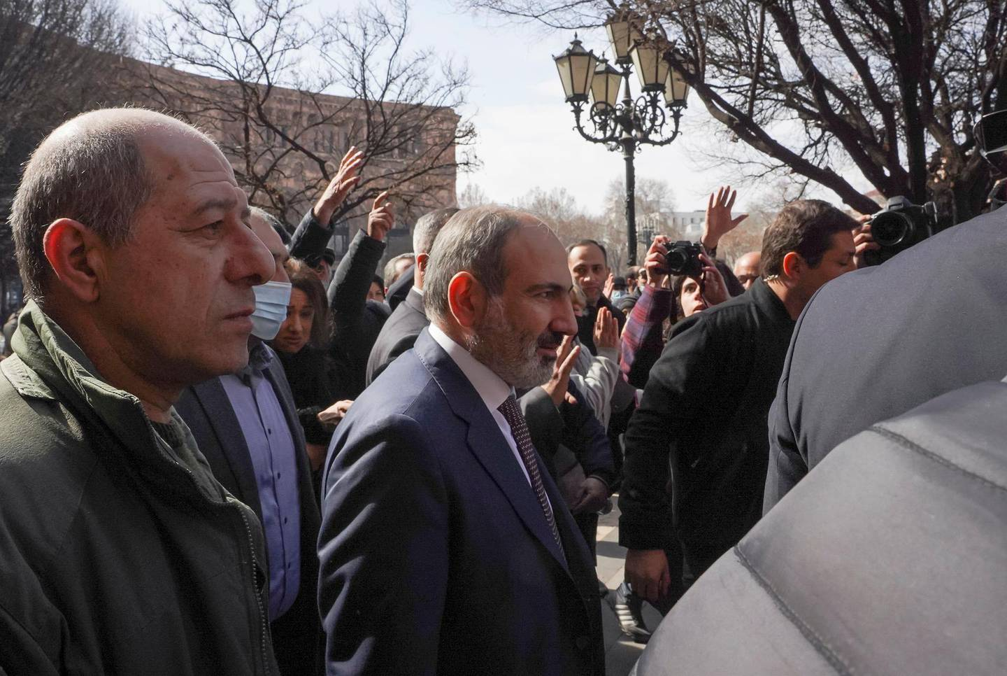 Armenian Prime Minister Nikol Pashinyan meets with participants of a gathering after he called on followers to rally in the centre of Yerevan, Armenia February 25, 2021. Pashinyan warned of an attempted military coup against him after the army demanded he and his government resign. REUTERS/Artem Mikryukov