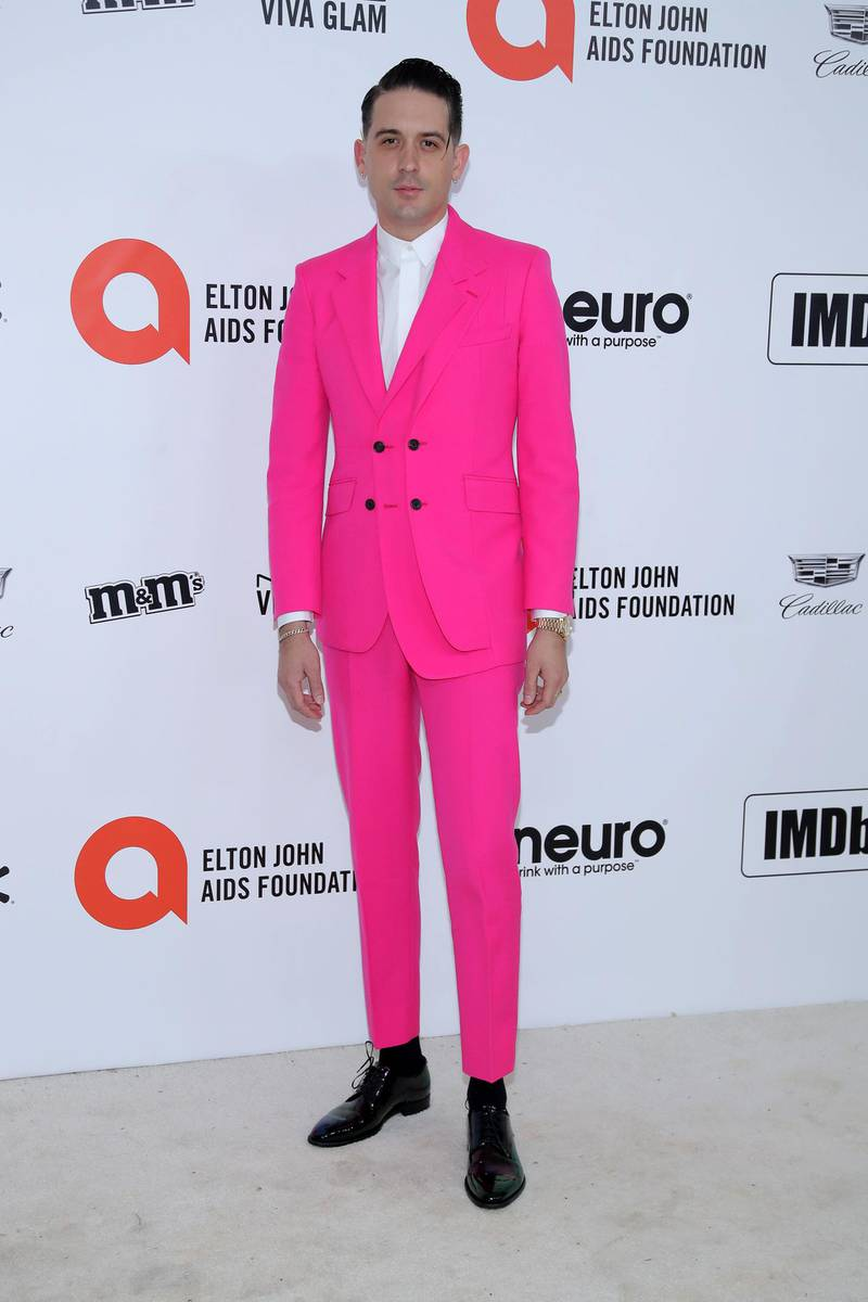 WEST HOLLYWOOD, CALIFORNIA - FEBRUARY 09: G-Eazy attends the 28th Annual Elton John AIDS Foundation Academy Awards Viewing Party sponsored by IMDb, Neuro Drinks and Walmart on February 09, 2020 in West Hollywood, California.   Jemal Countess/Getty Images/AFP