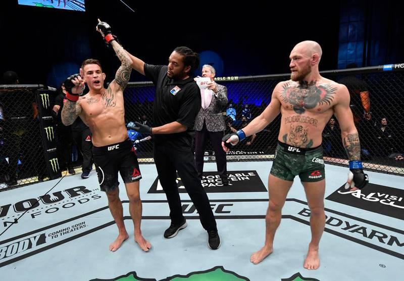 Dustin Poirier after his knockout victory over Conor McGregor in a lightweight fight during UFC 257 at Etihad Arena in Abu Dhabi, on January 23. Jeff Bottari/Zuffa LLC