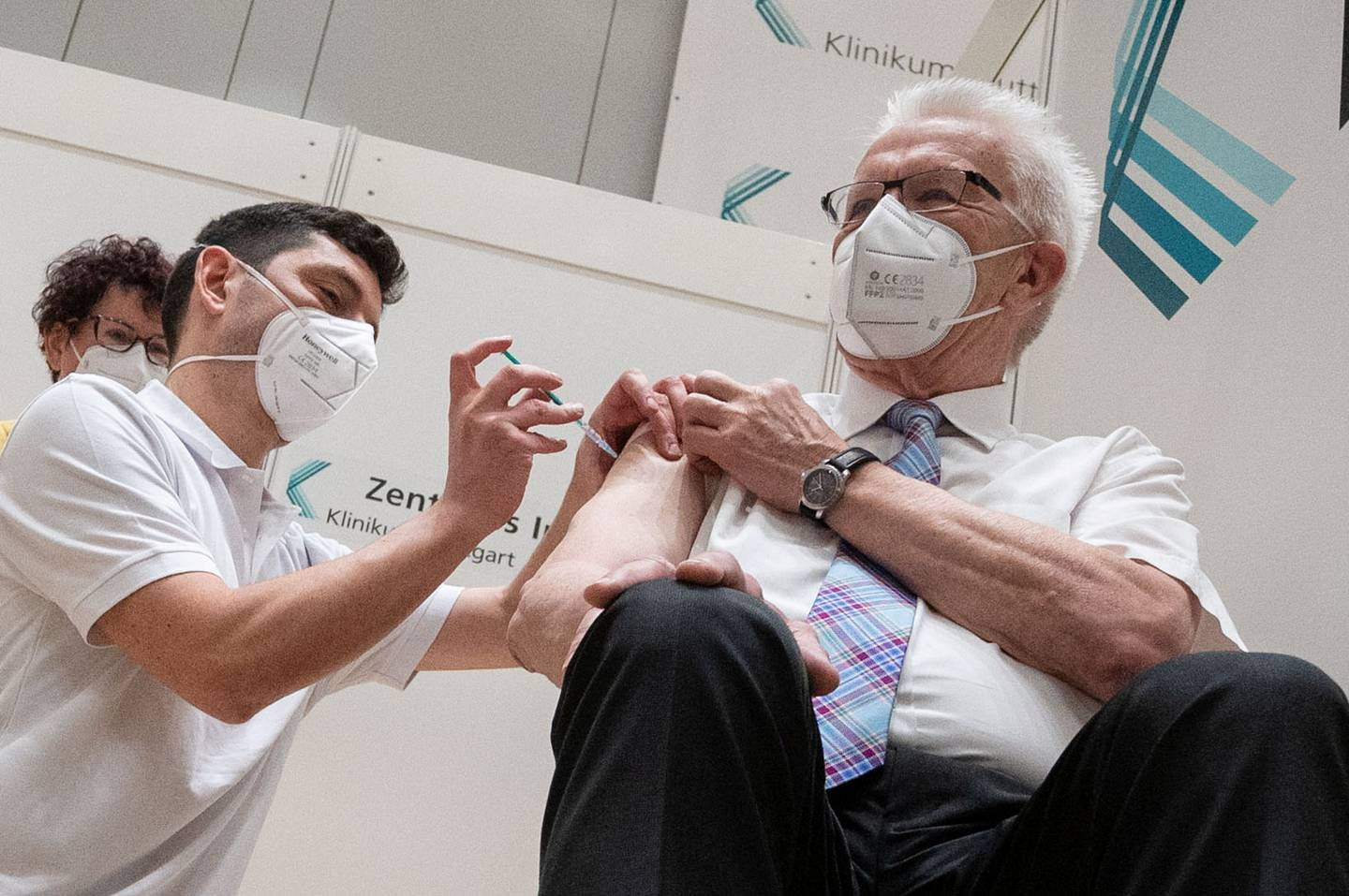 Winfried Kretschmann, Baden-Wuerttemberg federal Prime Minister of The Greens party receives his first AstraZeneca COVID-19 vaccination shot amid coronavirus pandemic in Stuttgart, Germany, March 19, 2021.   Marijan Murat/Pool via REUTERS