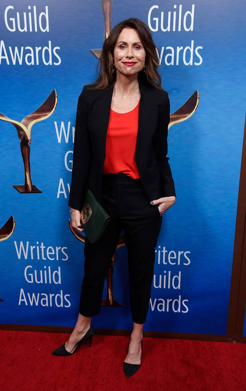 Actress Minnie Driver poses at the 2018 Writers Guild Awards at the Beverly Hilton on Sunday, Feb. 11, 2018, in Beverly Hills, Calif. (Photo by Chris Pizzello/Invision/AP)