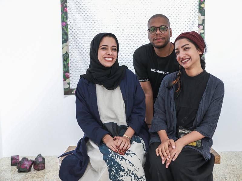 Abu Dhabi, U.A.E., June 6, 2018.    Bait 15 Studio and Art work space.  (L-R)  Afra Al Dhaheri, Hashel Lamki and Maitha Abdalla.Victor Besa / The NationalReporter:   Melissa Gronlund  Section:  Arts & Culture