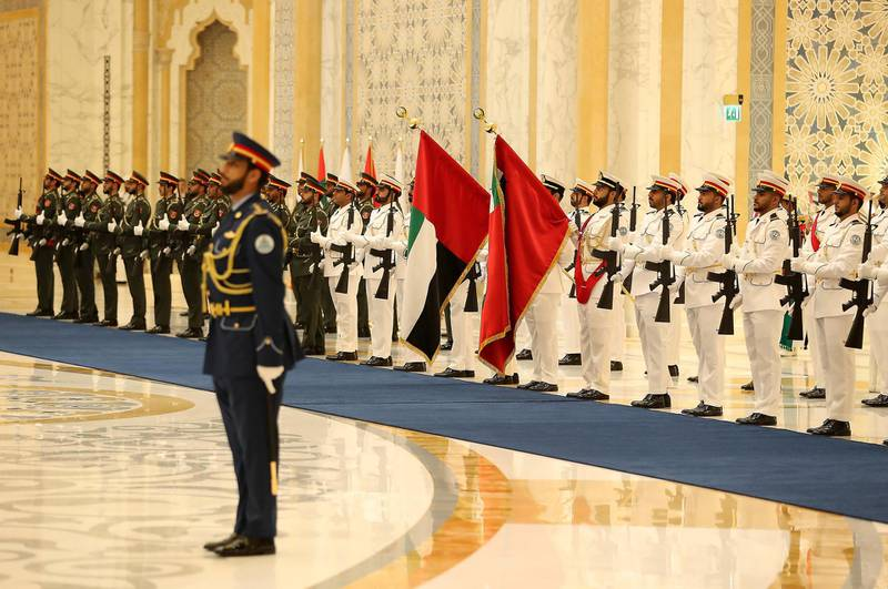 ABU DHABI , UNITED ARAB EMIRATES , October 15  – 2019 :- Members of the UAE Armed forces during the guard of honour for the Vladimir Putin, President of Russia at the Presidential Palace in Abu Dhabi.  ( Pawan Singh / The National )  For News. Story by John