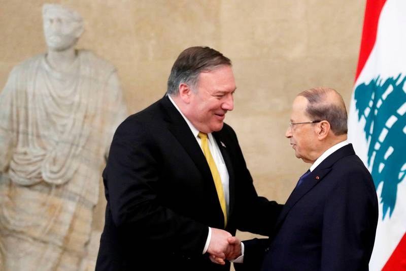 """US Secretary of State Mike Pompeo (L) meets with Lebanon's President Michel Aoun (R) at the presidential palace in Baabda, east of the capital Beirut on March 22, 2019. Pompeo warned of Shiite militant group Hezbollah's """"destabilising activities"""" as he visited Lebanon on the latest leg of a regional tour to build a united front against Iran. / AFP / POOL / JIM YOUNG"""