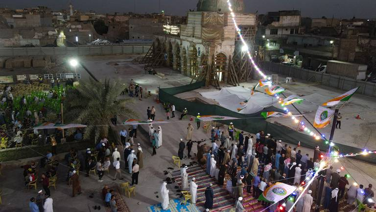 An image that illustrates this article Iraq's Al Nuri Mosque 'rises again' to celebrate Prophet Mohammed's birthday