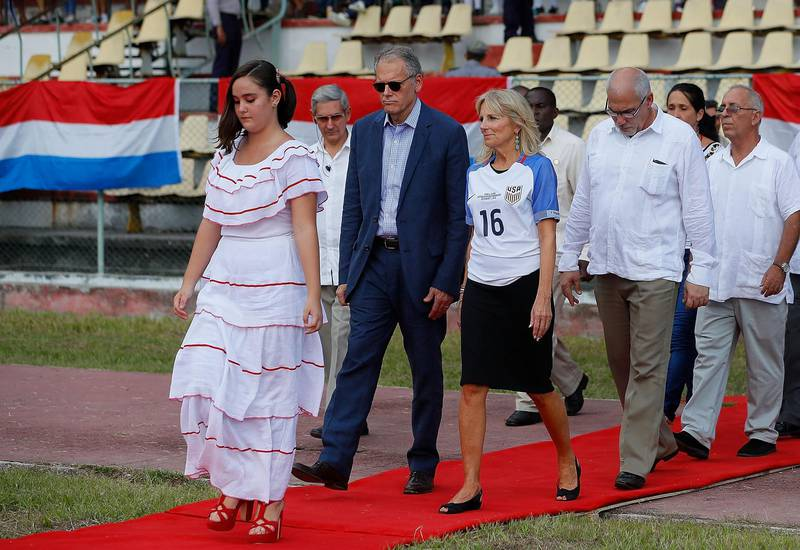 HAVANA, CUBA - OCTOBER 07:  Dr. Jill Biden, wife of U.S. Vice President Joe Biden, is escorted to the pitch prior to the match between the United States and Cuba at Estadio Pedro Marrero on October 7, 2016 in Havana, Cuba.  (Photo by Kevin C. Cox/Getty Images)