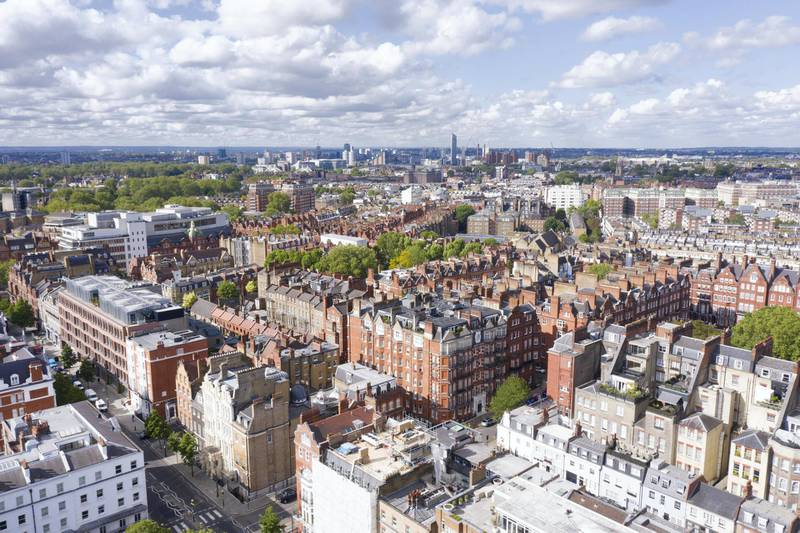 LONDON,ENGLAND - MAY 14: (EDITORS NOTE: Full Flight Permissions) An aerial view by drone looking at Chelsea across the Kings Road on May 14,2020 in London,England. (Photo by Chris Gorman/Getty Images)