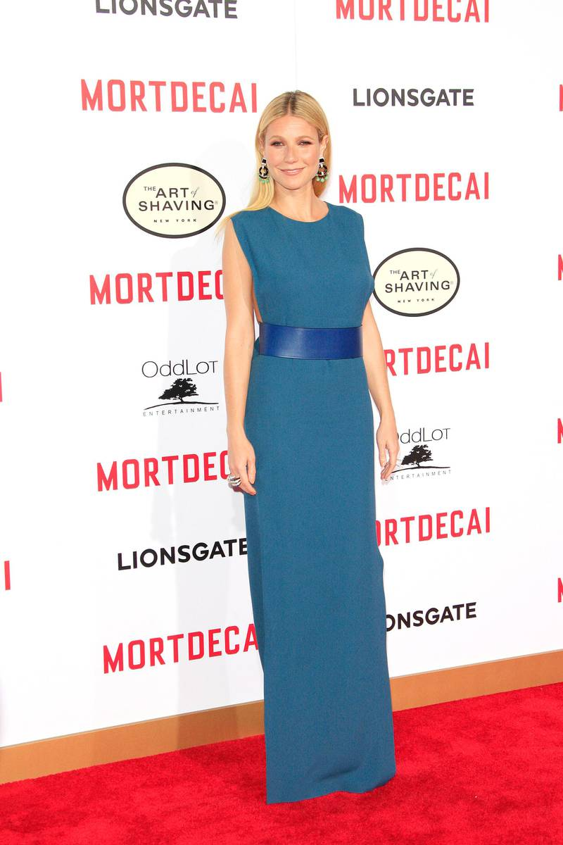 epa04574874 US actress and cast member Gwyneth Paltrow arrives for the Los Angeles premiere of 'Mortdecai' at TCL Chinese Theatre in Los Angeles, California, USA, 21 January 2015. The movie opens in the US theaters on 23 January 2015.  EPA/NINA PROMMER